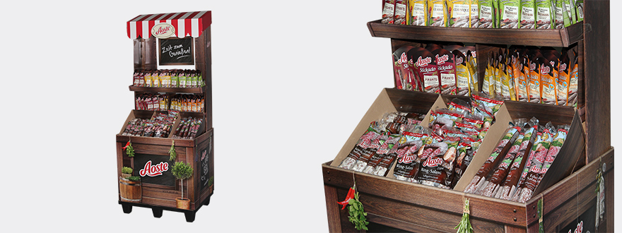 Tasty pallet display for Aoste sausage products