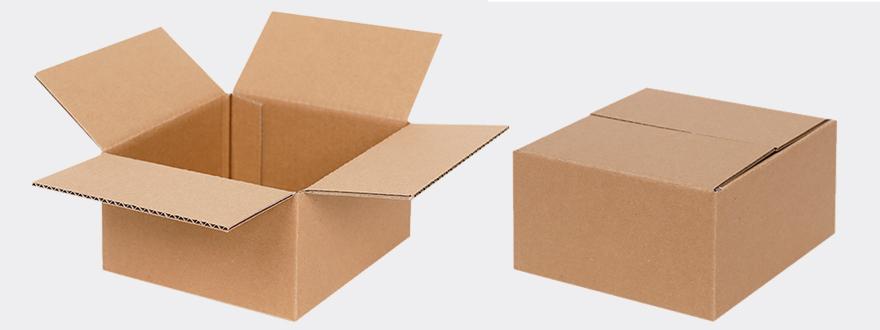 Folding cartons made of brown corrugated cardboard in small standard sizes